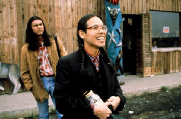 Evan Adams (right) and Adam Beach on the set of Smoke Signals.